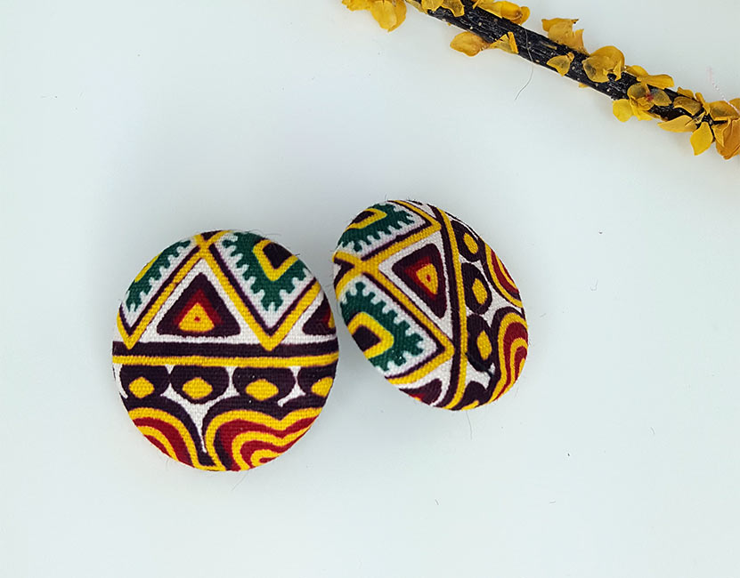 Funky Eye Cloth-Covered Button Earrings
