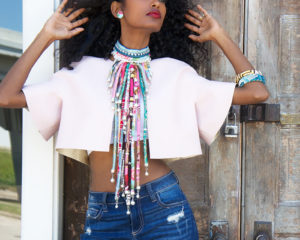 pink unique statement necklace