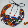 kente blue black white necklace