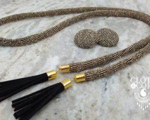 tan cloth wrap necklace