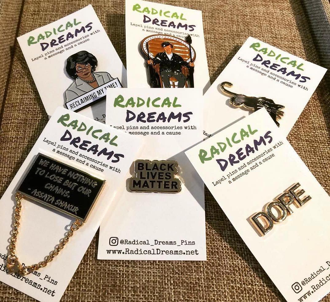 radical dreams black pride lapel pins