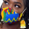Face Mask | Vibrant Kente Print Fabric Mask | Surgical Mask | General Purpose Unisex Mask | Cloth & Cord